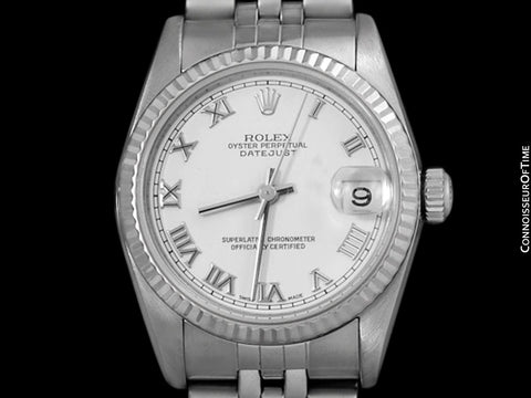 Rolex 31mm Midsize Datejust with White Dial, 78274 - Stainless Steel & 18K White Gold