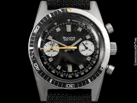 1970 Bulova Deep Sea 666 ft. Divers Vintage Mens Ghost Coke Bezel Chronograph Watch - Stainless Steel