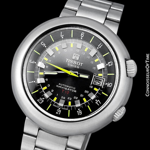 1971 Tissot T12 Navigator Classic Mens Extra Large Retro Compressor Divers GMT Watch - Stainless Steel