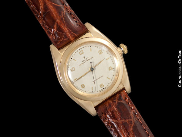 1946 Rolex Vintage Mens Oyster Perpetual Bubble Bubbleback Watch, Ref. 3131 - 14K Gold