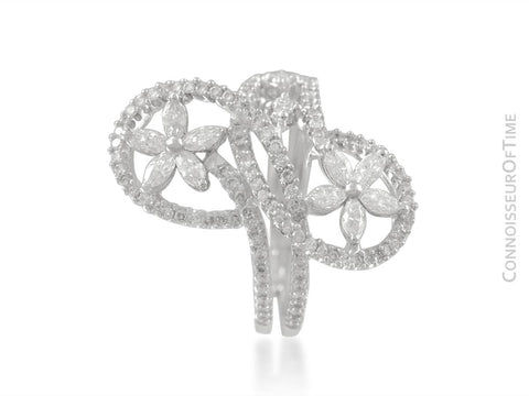 18K White Gold & Diamond Floral High Fashion Ring - 1.54 Carats