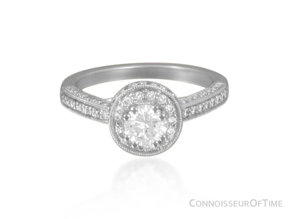 14K White Gold & Diamond Halo Engagement Wedding Ring, .47CT Round Diamond, .70TDW