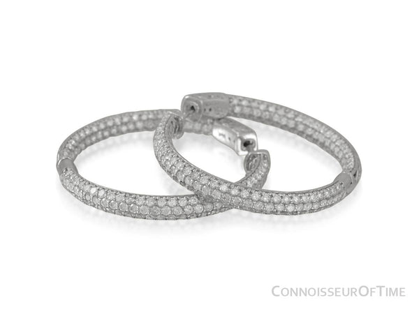 14K White Gold & Diamond Eternity Inside Out Large Hoop Earrings, 3.8 Carats Total Diamond Weight