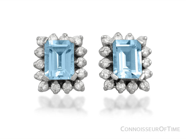 Diamond, Aquamarine and 14K White Gold Stud Earrings, 2.1 Carats Total Gem Weight