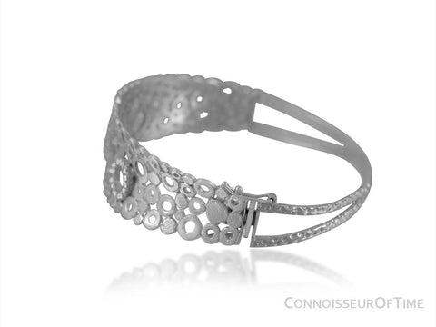 14K White Gold & Diamond Modern Bangle Bracelet with a Half Carat of Diamonds