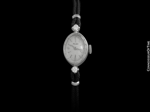 1960's Rolex Ladies Dress Watch, Silver Dial - 14K White Gold & Diamonds