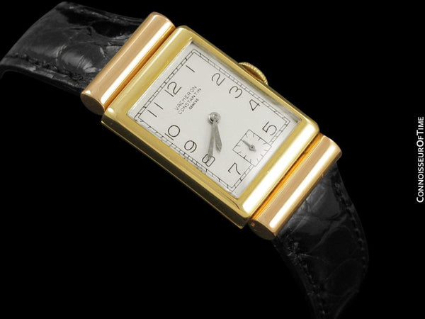 1948 Vacheron & Constantin Vintage Art Deco Hooded Lug Watch - Rare 2-Tone 18K Yellow & Rose Gold