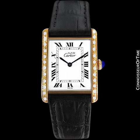 Cartier Vintage Mens Tank Mechanical Watch - Gold Vermeil, 18K Gold over Sterling Silver & Diamonds