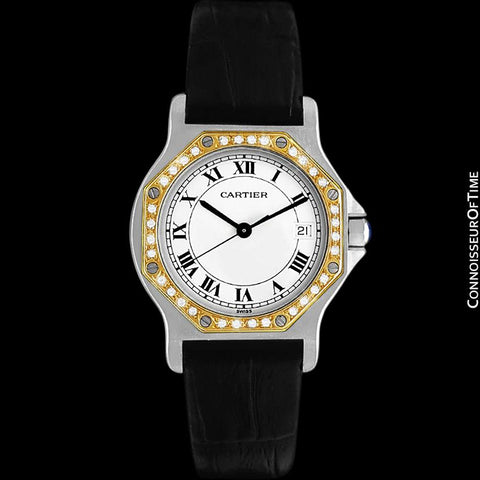 Cartier Santos Octagon Mens Midsize Quartz Watch - Stainless Steel, 18K Gold & Diamonds