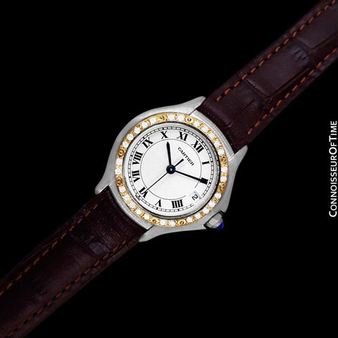 Cartier Cougar (Panthere) Ladies Watch - Stainless Steel, 18K Gold & Diamonds