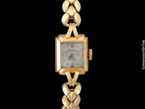 1953 Rolex Precision Vintage Pre-Cellini Ladies Watch, Ref. 8542 - 18K Gold with Rare Box & Tag