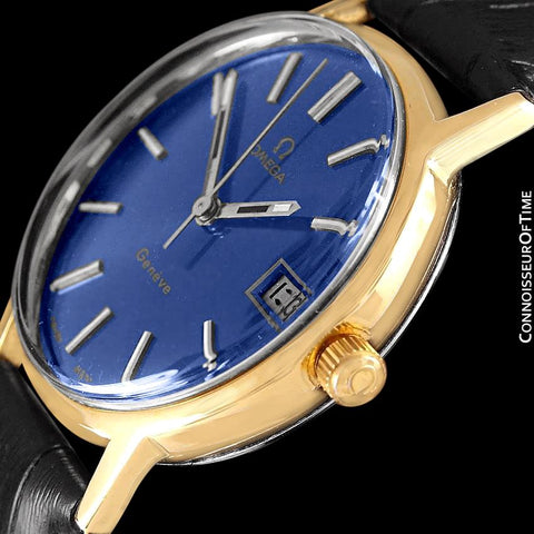 1973 Omega Geneve Vintage Mens Watch, Quick-Setting Date - 18K Gold Plated & Stainless Steel