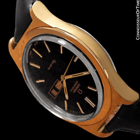 1970's Omega Geneve Classic Vintage Mens Watch, Automatic, Day Date - 18K Gold Plated & Stainless Steel