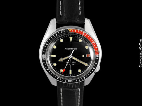 "1970 Bulova Accutron Deep Sea 666 ft. Divers ""Deep Six"" Bakelite Coke Bezel Vintage Mens Watch - Stainless Steel"