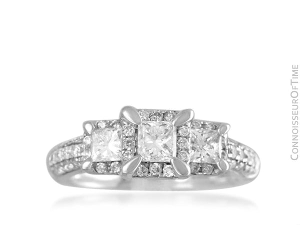 14K White Gold & Diamond 3-Stone 1 Carat Engagement Wedding Ring