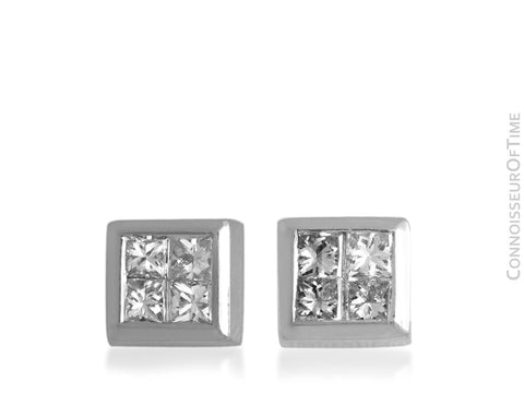 Platinum and Diamond Half-Carat Stud Earrings