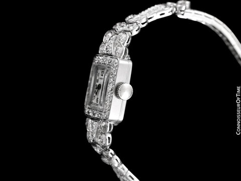 1930's Blancpain Vintage Ladies Cocktail Watch - Platinum with 6 Carats of Diamonds