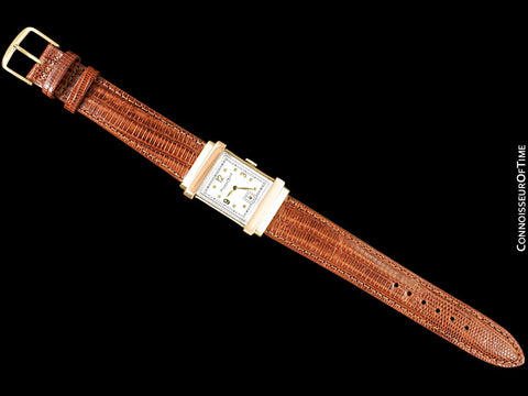 1942/1947 IWC Vintage Art Deco Mens Top Hat Wristwatch - 14K Yellow & Rose Gold