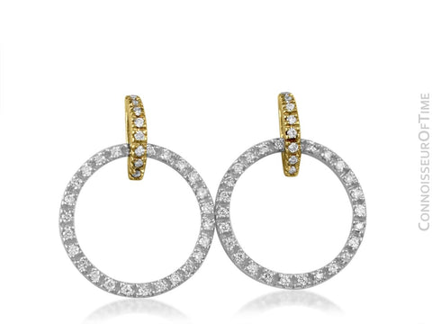 14K White Gold & Yellow Gold Two-Tone Diamond Hoop Earrings, .75 Carats Total