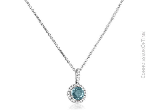 18K White Gold & Blue Diamond Pendant & 14K White Gold Necklace - 1.00 Carat TDW