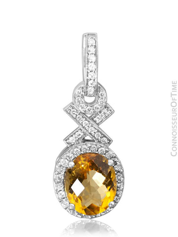 14K White Gold, Diamond & Natural Citrine Quartz Dangle Earrings, .75 Carat TDW, 7.63 Carats Total Gem Weight