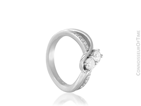 14K White Gold & Diamond 2-Stone Ever Us Style Bypass Engagement Wedding Ring - .53 Carat Total Weight