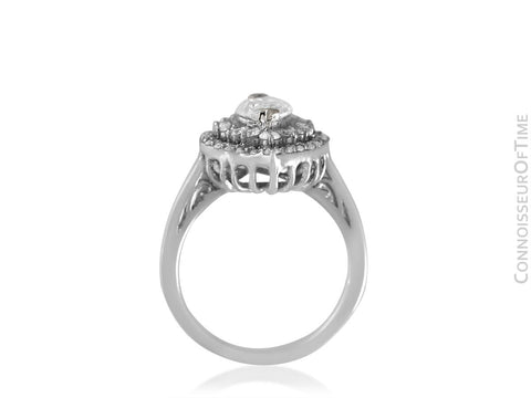 18K White Gold & Diamond Halo Engagement Wedding Ring, .87 CT Marquise Diamond, 1.68 TDW