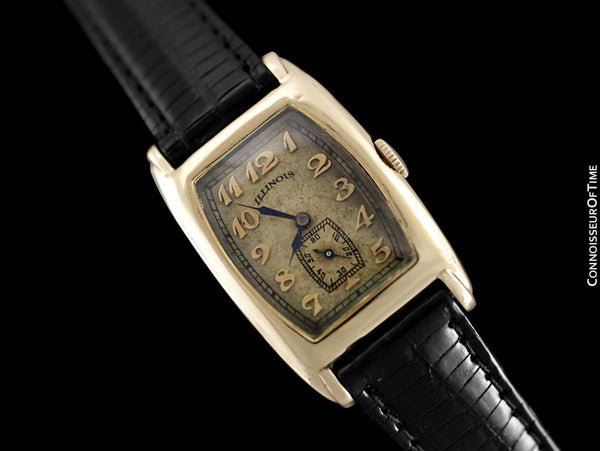 "c. 1930 Illinois ""Rockcliffe"" Vintage Mens Art Deco Model 216 Watch - Uncommon Solid 14K Gold Illinois"