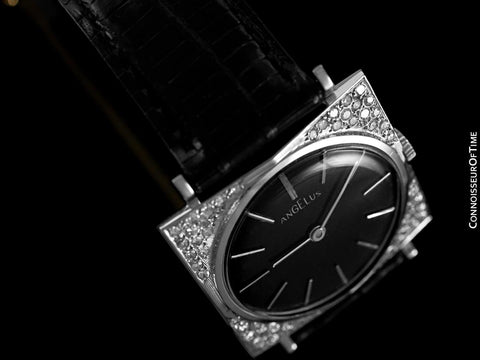 1950's Angelus Vintage Mens Tuxedo Style Watch - 14K White Gold & Diamonds