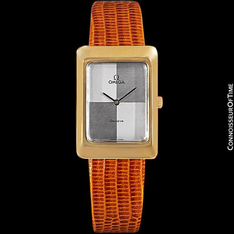 1975 Omega De Ville Vintage Mens Midsize Dress Watch With Checkerboard Dial - 18K Gold Plated
