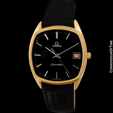 1981 Omega Seamaster Classic Accuset Vintage Mens Retro Quartz Watch - 18K Gold Plated & Stainless Steel