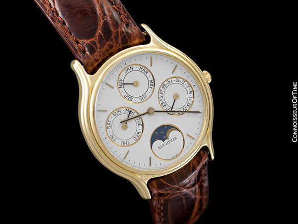 1980's Bucherer Vintage Mens Triple Calendar Quantième with Moonphase - 18K Gold