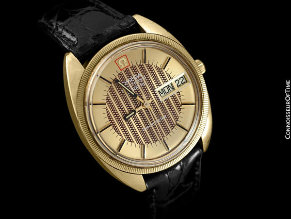 1974 Omega Electronic Chronometer f300 Hz Accutron Vintage Mens Watch - 18K Gold Plated & Stainless Steel