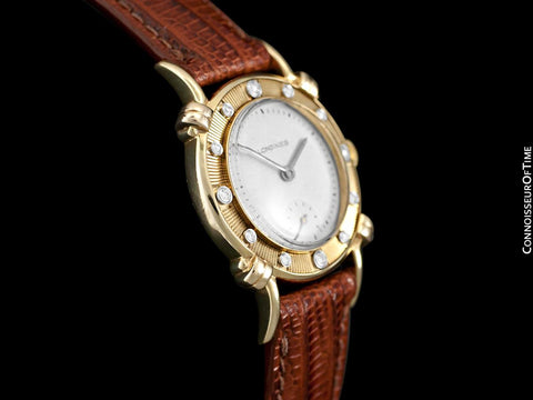 1948 Longines Vintage Mens Midsize Watch with Knot Lugs - 14K Gold & Diamonds