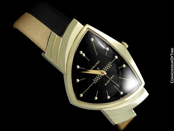"1950's Hamilton Electric Ventura ""500"" Model Vintage Mens Assymetric Wristwatch - 14K Gold"