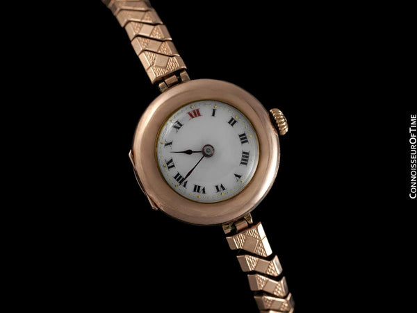 1910's Rolex Ladies Vintage Art Deco Watch - 9K Rose Gold