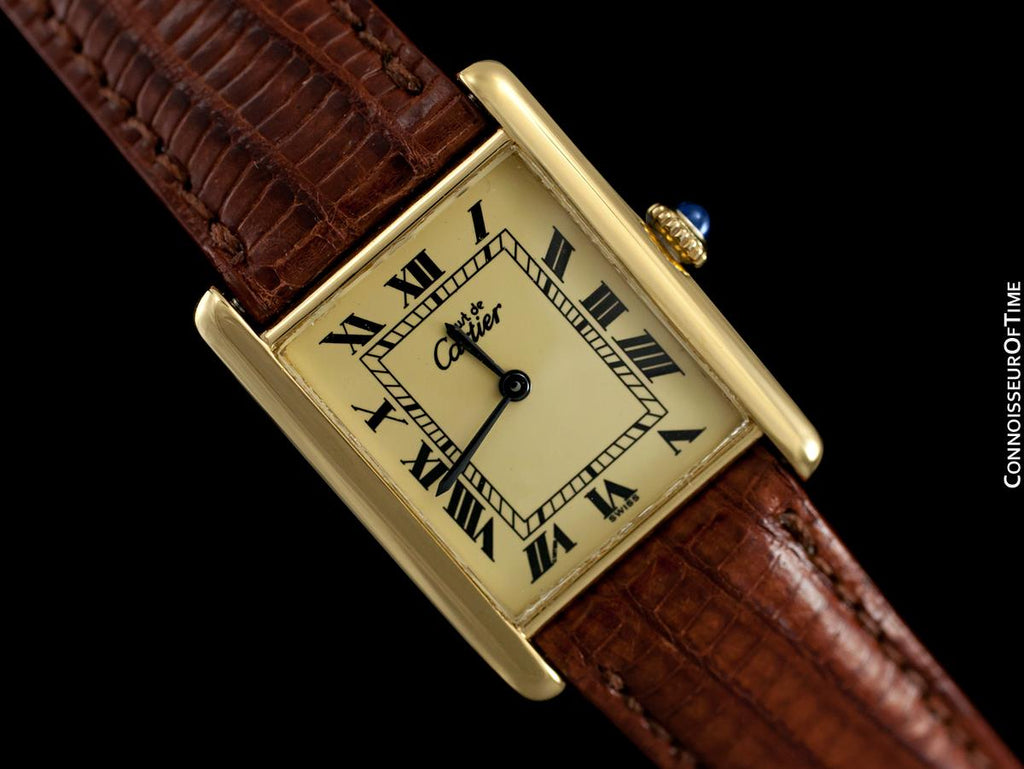 Cartier Vintage Mens Tank Mechanical Watch - Gold Vermeil, 18K Gold over  Sterling Silver -