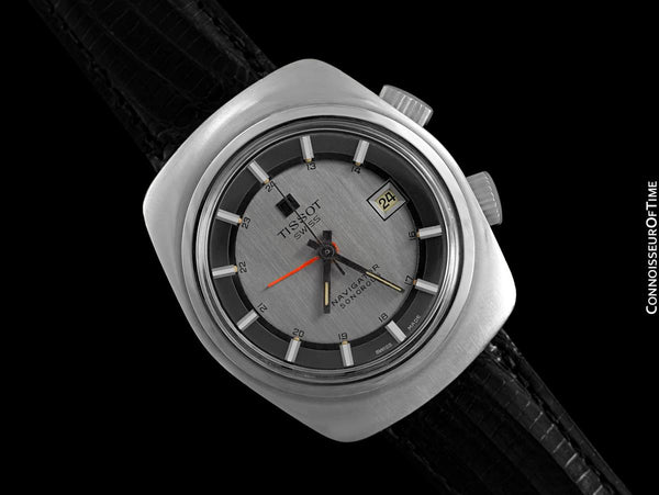 1974 Tissot Navogator Sonorous Classic Full Size Mens Alarm Reveil Watch - Stainless Steel