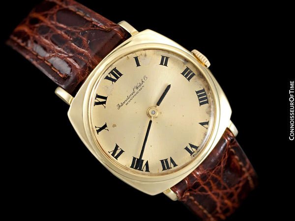 1969 IWC Vintage Mens Midsize Handwound Buckley Dial Dress Watch, Caliber 422 - 18K Gold