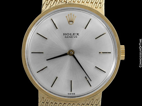 1970's Rolex Cellini Style Vintage Mens 31mm Dress Watch - 14K Gold