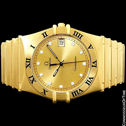 Omega Constellation Mens 35mm, Quartz, Date - 18K Gold Plated & Diamonds