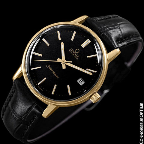 1979 Omega Vintage Seamaster Mens Watch, Automatic, Date - 18K Gold Plated & Stainless Steel