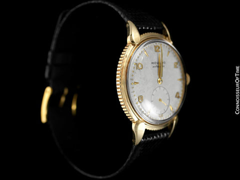 "1951 Movado ""Futuramic"" Vintage Mens Watch, Thin Automatic - 14K Gold with Coin Edge Bezel"