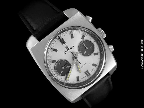 "1960's Croton Swiss Vintage Mens Retro ""Panda Dial"" Chronograph Watch - Stainless Steel"