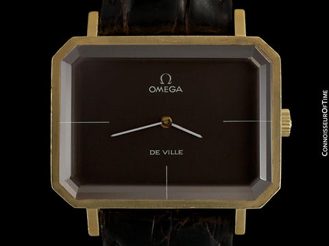 "1971 Omega De Ville Mens Midsize ""Emerald"" Modern Watch By Andrew Grima - 18K Gold Plated & Stainless Steel"