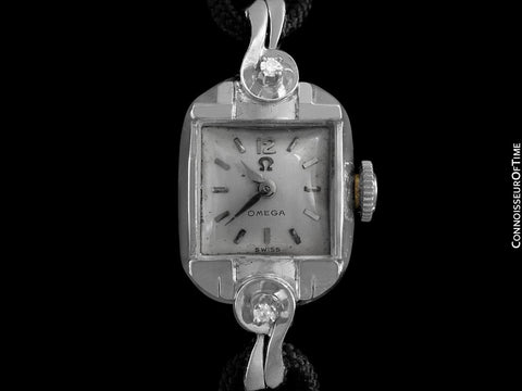 1956 Omega Vintage Ladies Watch - 14K White Gold & Diamonds
