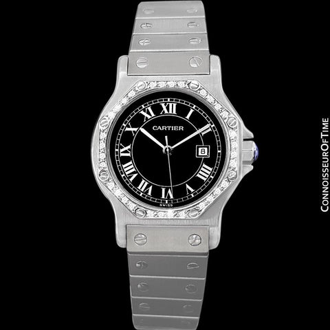 Cartier Santos Octagon Mens Midsize Watch, Automatic - Stainless Steel and Diamonds