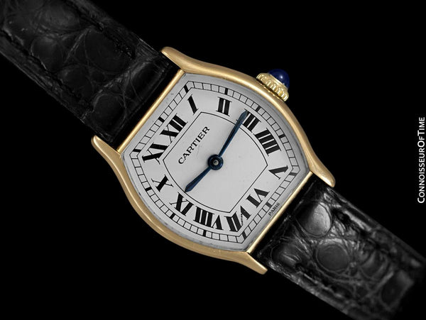 Cartier Vintage Ladies Tortue Tortoise Mechanical Watch - Solid 18K Gold