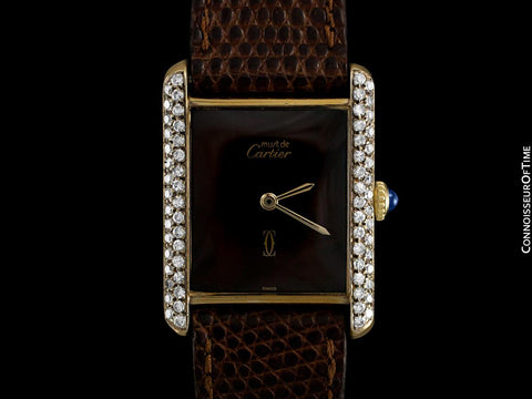 Cartier Vintage Mens Midsize Tank Mechanical Watch - Gold Vermeil, 18K Gold over Sterling Silver & Diamonds