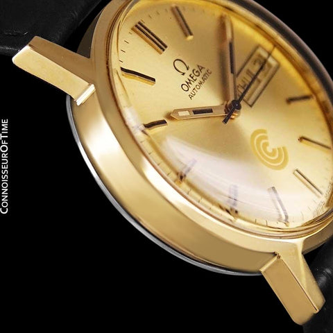1974 Omega Geneve Vintage Automatic Day Date Mens Watch - 18K Gold Plated & Stainless Steel